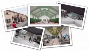 montage of pictures showing visualisation of redeveloped Govanhill Baths with swimming pool and gym
