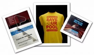Cover of we'll swim again book and DVD and save our pool t-shirt